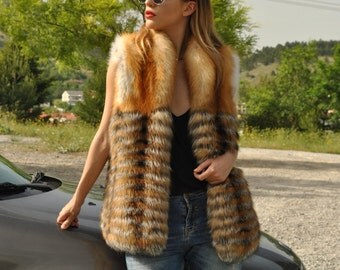 Red and silver fox fur vest, real fur, mexa, fur, vest, fox, clothing,