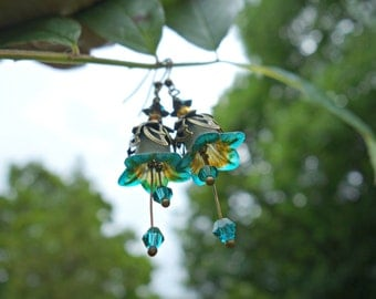 Victorian Earrings - Flower Earrings - Turquoise Earrings - Vintage Wedding - Swarovski Earrings - Gift For Her - Vintage Style Dangle Drop.