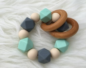 Mint Grey and Navajo Silicone Teething ring with 2 wooden rings