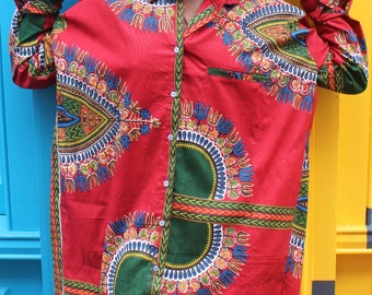 African Shirt Dress - Omar Shirt Dress - Wax Shirt - Festival Shirt - Festival Clothing - African Clothing