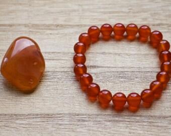 Carnelian Mala Bracelet, Healing Crystals for Fertility, Abundance, Motivation and Courage