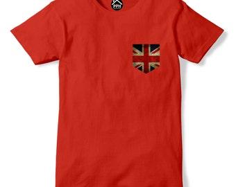 Vintage Print Pocket UK Britain Flag T Shirt Mens Womens Brexit Tshirt New 263