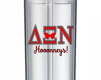 Delta Xi Nu Hooonneys! Personalized Clear Skinny Tumbler
