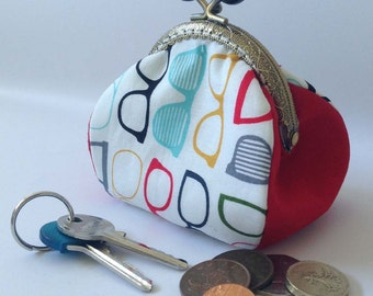 Coin Purse, Geek, Glasses, Red, Retro, Kiss lock, Change Pouch, Gift for her,