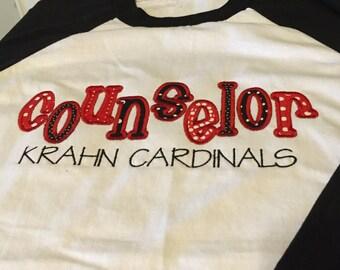 Counselor/Librarian Baseball T Shirts