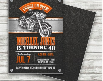 Motorcycle Biker Birthday Invitation, Vintage Motorcycle Birthday, Motorcycle Invite, Harley Davidson Birthday, Harley Birthday, Printable