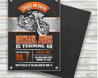 Motorcycle Biker Birthday Invitation, Vintage Motorcycle Birthday, Motorcycle Invite, Harley Davidson Biker Birthday - Printable