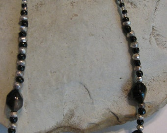 Glass & pyrite bead necklace