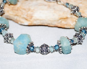 Aquamarine and Sterling Silver Bracelet