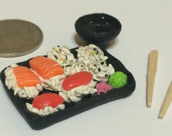 Miniature Sushi Tray W/ Chopsticks & Soy Sauce