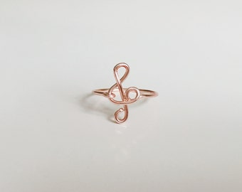 Treble Clef Rose Gold Ring, Treble clef ring, Rose gold ring,  Music note ring, Music ring, note ring, gold music ring, wire ring, ring