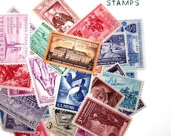 35 Unique Assorted Vintage Unused Postage Stamps - 3 cents each