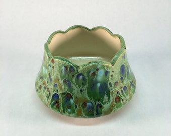 Vintage drip glaze studio pottery bowl