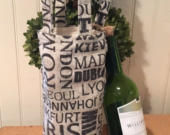 Wine Tote Bag, Burlap Wine Tote , Famous Cities Screen Printed, Two Handle Wine Carrier, Flat Bottom Tote, Lined Tote,One Bottle Wine Tote