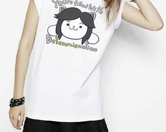 Undertale Detemmienation Temmie You Are Filled With Determination Game Inspired T-shirt. Male and Female Apparel