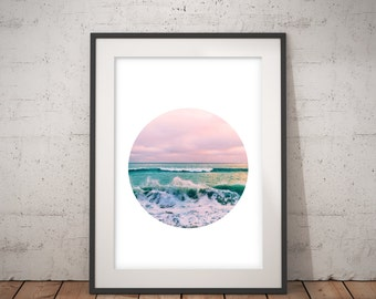Printable Art, Circle Print, Beach Print, Coastal Photo Wall Art, Ocean Print, Coastal Beach Nautical Decor, pink turquoise blue,photography