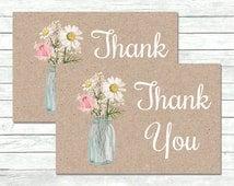 Floral Mason Jar Kraft Favor Gift Tags, Daisy Rose Gypsophila Mason Jar Favor Tags, Printable Favor Tags, Kraft Tags Instant Download, 007-B