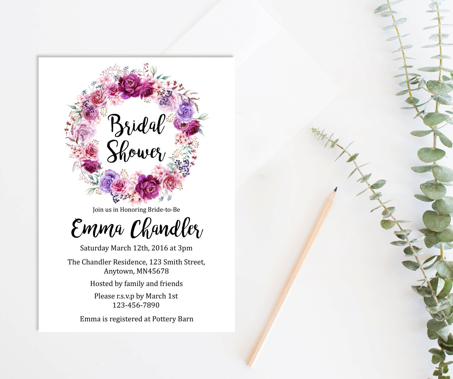Purple Flower Bridal Shower Invitation : Purple floral bridal shower invitation printable