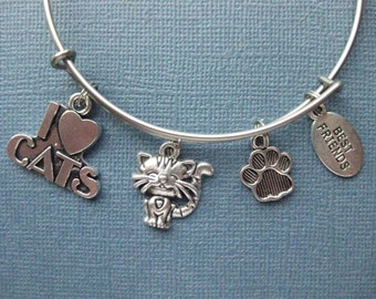 Cat Bangle - Cat Charm Bracelet - Cat Jewelry - Charm Bracelet - Bangle - Cat Lover - Cat - Charm Bangle -- B118