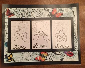 14x11 Print Live Laugh Love