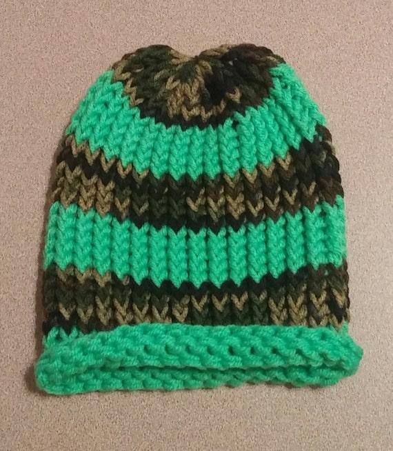 Loom Knitting Beanie Patterns : Loom Knit Hat Loom Knit Beanie Loom Knit Winter Beanie