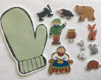 The Mitten - Felt Board Story - Flannel Board - Speech Therapy - Children's Gift