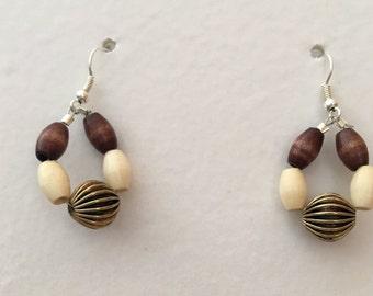 Simple Wooden Bead Earrings