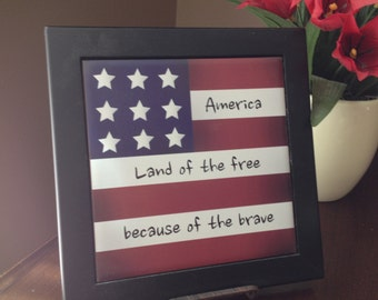 Land of the brave because of the brave, Ceramic Framed Tile, Patriotic Tile, American Flag Framed Tile, Tile, Red-White-Blue Framed Tile