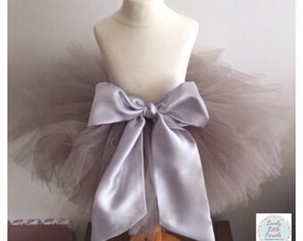 Rosie - Extra Full Tulle Tutu Skirt with Satin Sash Bow, Flower Girl/Birthday/Cake Smash/Party/Prom/Wedding/Photography Prop