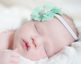 Baby Girl Headband, Shabby Chic Baby Headband, Newborn Headband, Baby Hair Bows, Toddler Headband, Baby Bows, Baby Photos Headband