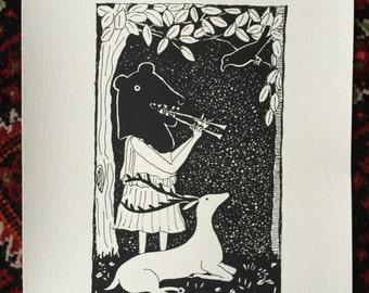 Bear girl playing double flute silkscreen print