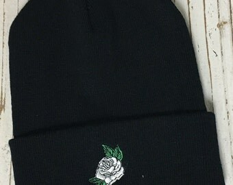 WHITE ROSE Embroidered Beanie Cuffed Cap - Black