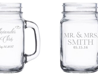 One single (1) Etched Mason Jar w/ Handle, Newlyweds, Gift for the couple, Weddings, Gifts, Wedding gifts