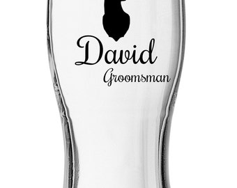Set of (1) Vinyl Pint Glass, Groomsman Gifts, Best Man Glasses, Personalized Pint glasses, Pint glasses, Customized Pint glass