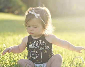 Baby Girl Tank Top - Firefly Wishes - Summer Clothes for girl - Summer nights tank top - Fireflies shirt for girl - baby girl racerback tank