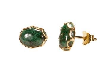 vintage Malachite earrings,vintage stud earrings, Malachite earrings,Malachite stud vintage earrings,Gold vintage earrings,14k gold earrings