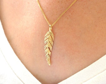 feather necklace, gold feather, feather jewelry, solid gold necklace, feather charm, 14k gold necklace, feather pendant, 14k gold feather