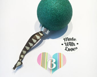 Christmas Glass Bauble Green Glitter, Handmade