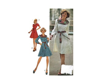 1970s Vintage Sewing Pattern - Simplicity 7130 - Belted Dress