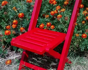 Red wooden chair vintage fold up childrens chair red folding chair small wooden chair vintage kids chair red folding chair