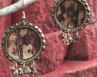 Upcycled bottle cap earrings, wood look, brown with natural stone beads, brown and white bottle caps