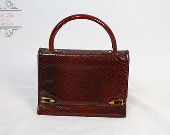 Vintage Real Leather Snakeskin Effect Russet Handbag