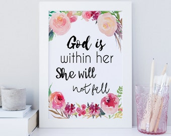 Printable Bible Verse, wall art, Psalm 46 5 print, God is within her she will not fall, Bible print, scripture print, Nursery print, quote