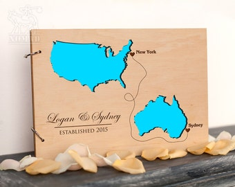 Wedding Guest Book, Rustic Custom guest book, Countries and States Guest Book, Unique guestbook, Wedding Destination Laser Engraved