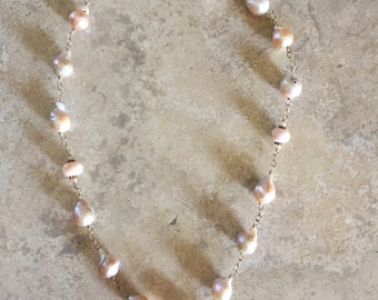 14k gold filled wire wrapped freshwater pearls(peach tone)with mother of pearl bead