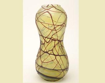 Art Nouveau, Jugendstil, Pallme-König Art Glass Vase, Green Luster & Red, ca. 1900-1910