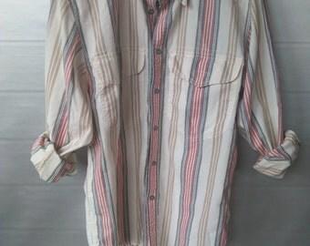 Vintage Liz Claiborne Button Up Blouse, Vintage Striped Blouse, Vintage Flannel, Liz Wear