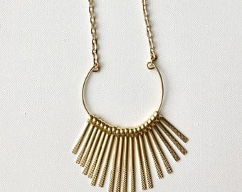 Brass Fringe/ Gold Bar/ Fringe Necklace/ Geometric Necklace