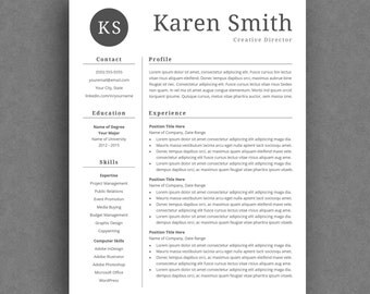 Modern Resume Template | Curriculum Vitae Template | Professional Resume Design for Word | CV | Simple Resume Template with Cover Letter