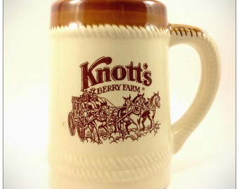 Knott's Berry Farm Mug Vintage, Collectible,Drinking Ceramic Mug, Tan and Brown, California, 16oz Cup Size, USA Company, Ships Worldwide